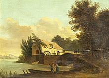Landschaftsmaler des 19. Jh., Ansicht einer Wassermühle mit Staffagefiguren, Öl/Holz, unsign., Platte horizontal gebr., 23 x 29 cm, ger. 37 x 44 cm