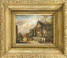 F. van der Beek, Maler um 1900, niederländische Stadtansicht, Öl/Sperrholz, u. re. sign., angeschmutzt, 21 x 25 cm, ger. 36 x 41 cm