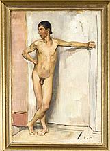 Ludwig von Hofmann (1861-1945), posierender männlicher Akt im Atelier, Öl/Lwd., u. re. monogrammiert ''LvH'', doubl. u. rest., 51,5 x 36 cm, ger. 60 x 44 cm