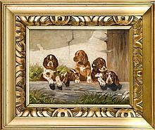 Josef Schmitzberger (1851-1936), nach, fünf Jagdhundwelpen, Öl auf Papier wohl über Druck auf Milchglas, o. re. bez. ''n. Schmitzberger'', ein Loch im Ohr des 2. Hundes von re., 20 x 25 cm, ger. 31 x 38 cm