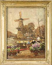 Hans Herrmann (1858-1942), ''Blumenmarkt in Holland'', Öl auf Karton, um 1900, Rechts unten signiert. Hans Herrmann, neben Liebermann und Skarbina einer der Urväter der Berliner Secession, der bereits an ihrer Vorläufergruppe der ''Elf'' beteiligt