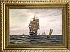 Agnes von Bülow (1884-?), Marinemalerin um 1900, großes Seestück mit Seglern und Dampfern, Öl/Lwd., 55 x 82 cm, ger. 79 x 104 cm, Agnes