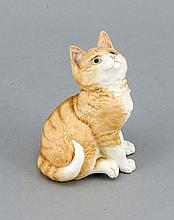 Ginger-Cat, Royal Worcester, England, 20. JH., sitzende Katze mit nach oben gewendetem Blick, naturalistisch staffiert, H. 12 cm,