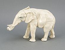 Stehender Elefant, Ens, Volkstedt, 20. Jh., weiß, leicht staffiert, L. 23 cm