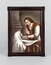 Bildplatte, Heilige Kommunion, w. Frankreich, 19. Jh., polychrome Malerei, 17 x 11,5 cm, gerahmt 19,5 x 14 cm