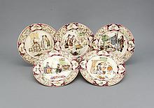 Fünf Teller, Saargemünd, gemarkt Sarreguemines, Marke für künstlerische Fayencen um 1890-1900, Modellnr. 2235, alle mit verschiedenen Figurenszenen, umrandet von floralem Dekor, durchbrochen von vier Kartuschen, D. 22 cm