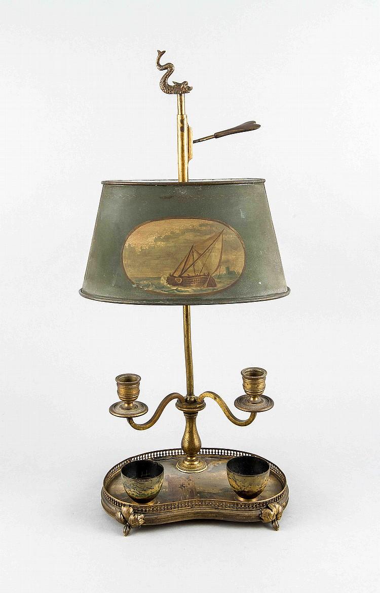 tischlampe f r kerzenbetrieb um 1900 messing und eisenblec. Black Bedroom Furniture Sets. Home Design Ideas