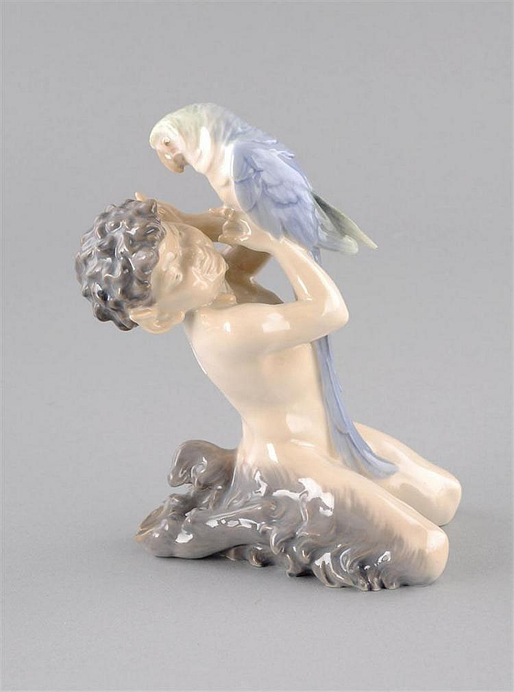 Kneeling Faun with Parrot, Royal Copenhagen, Brand