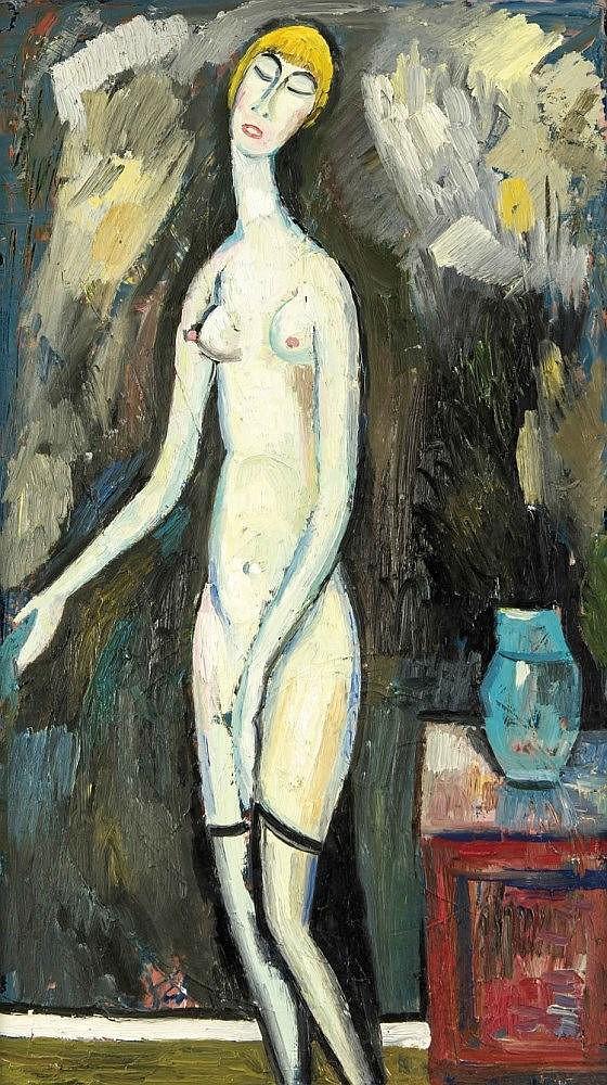 Horst Lesniewicz (1926-2003), Berliner Maler, studierte u.a. bei Pechstein, Hallenstede und Triebs, seine expressive und provokante Malweise wurde in zahlreichen Ausstellungen u.a. in New York und Chicago gewürdigt, weiblicher Akt, Öl/Karton,