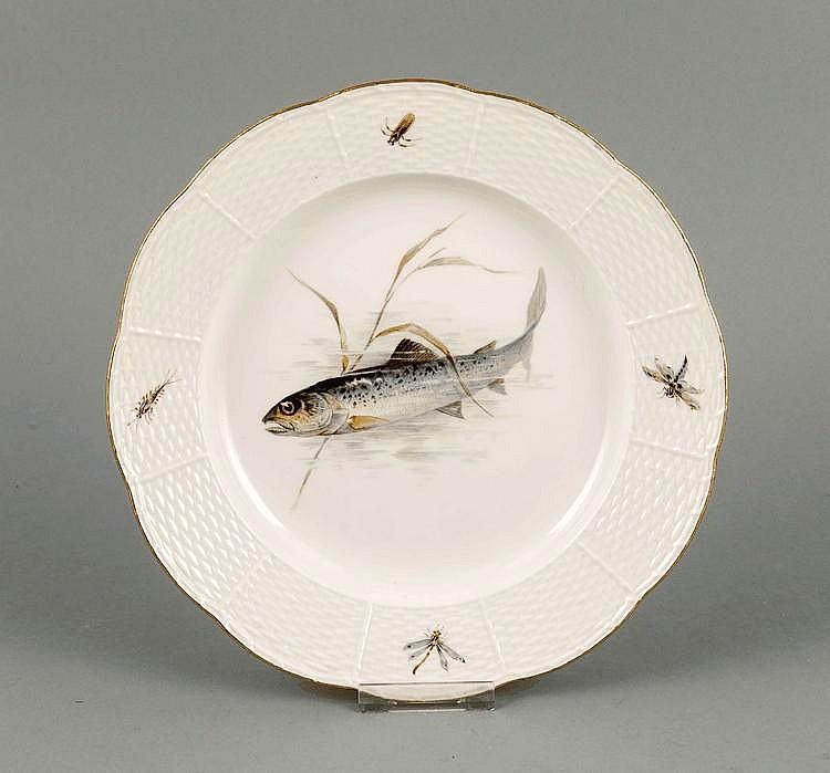 Fischteller meissen marke 1850 1924 1 w form ozier po for Spiegel und fahne