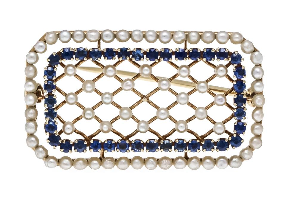 Sapphire pearl brooch GG 585/