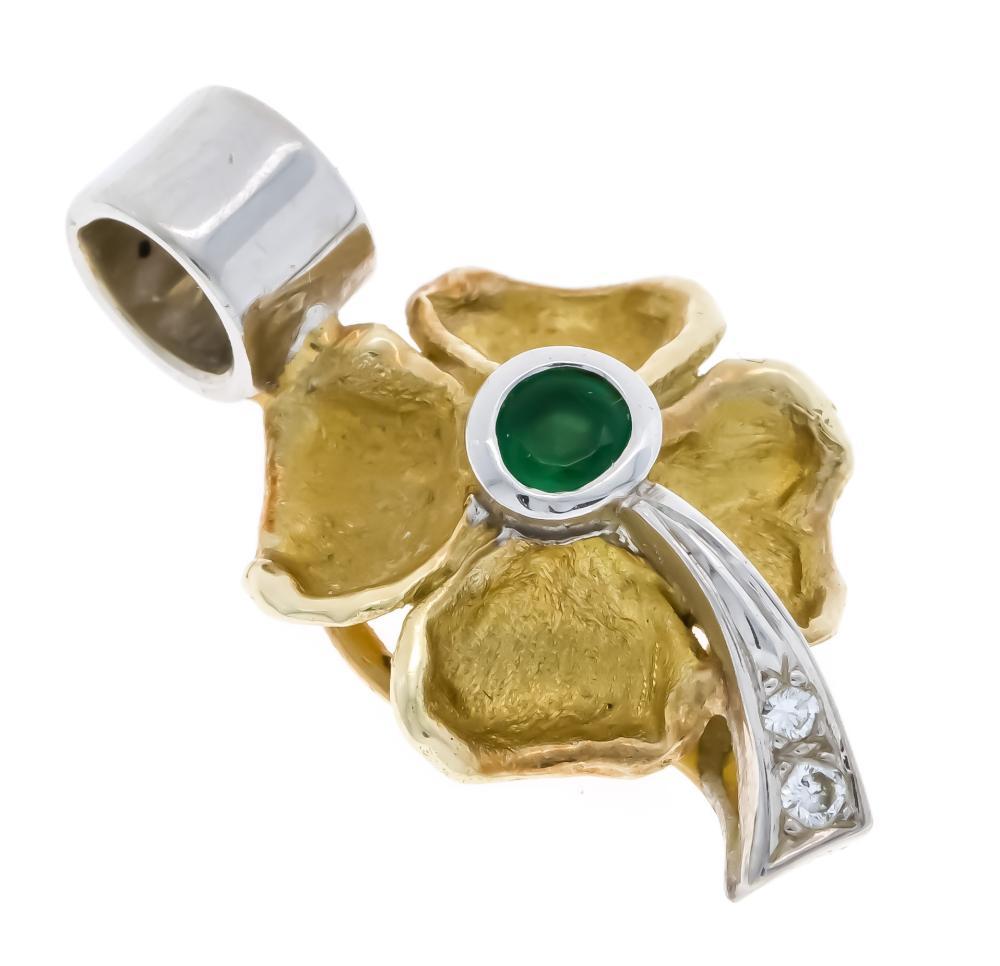 Emerald diamond pendant GG/WG
