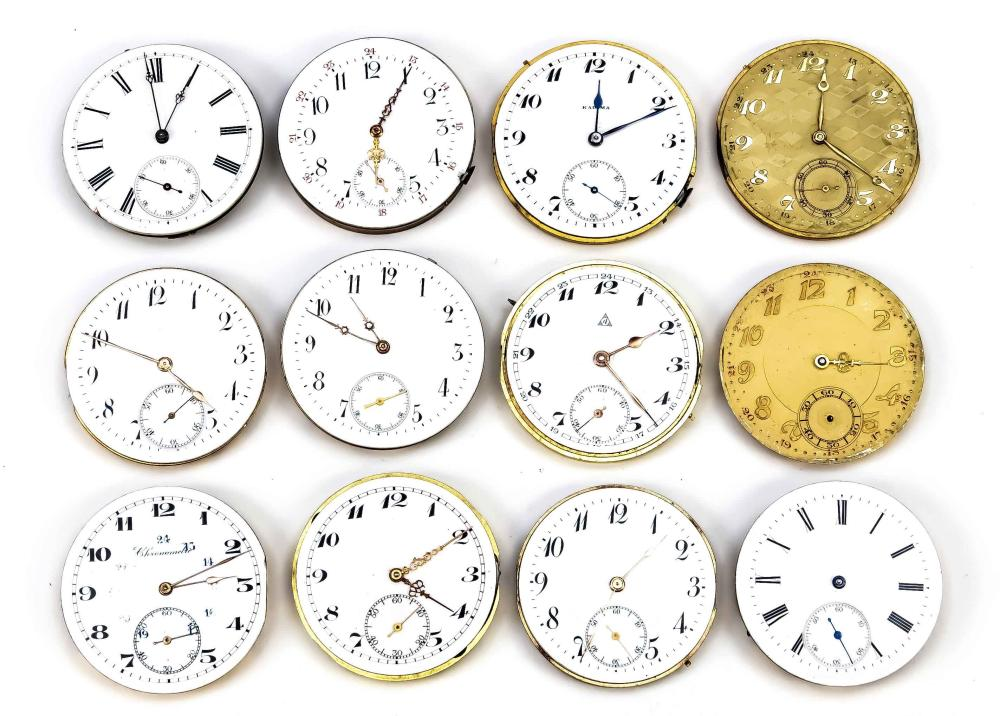 12 pocket watch movements and