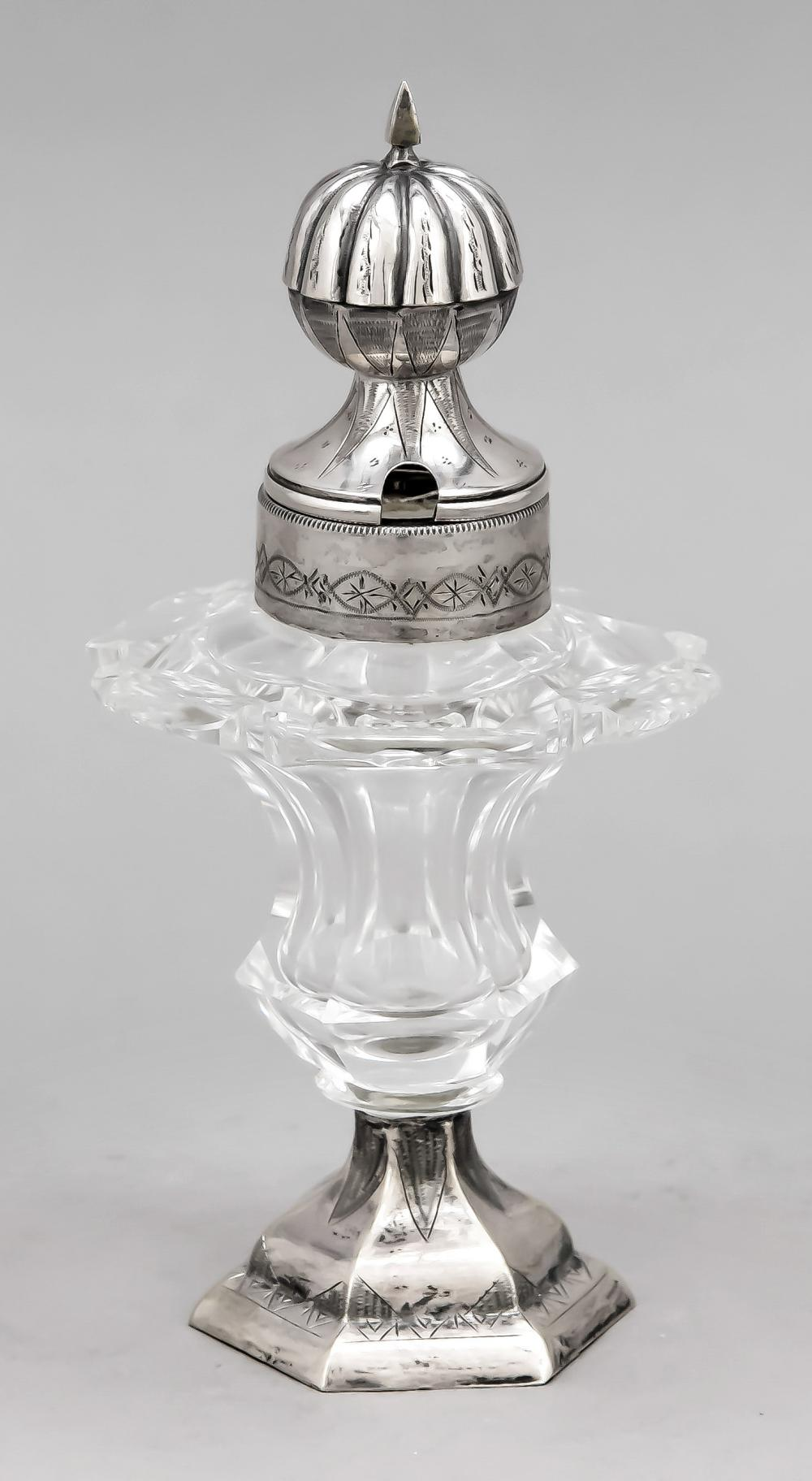 Lidded vessel with silver mou