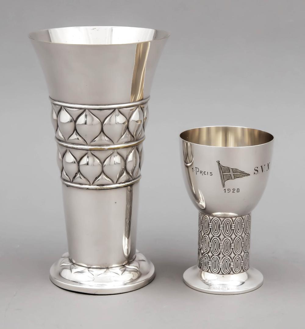Art Deco vase and beaker, c.