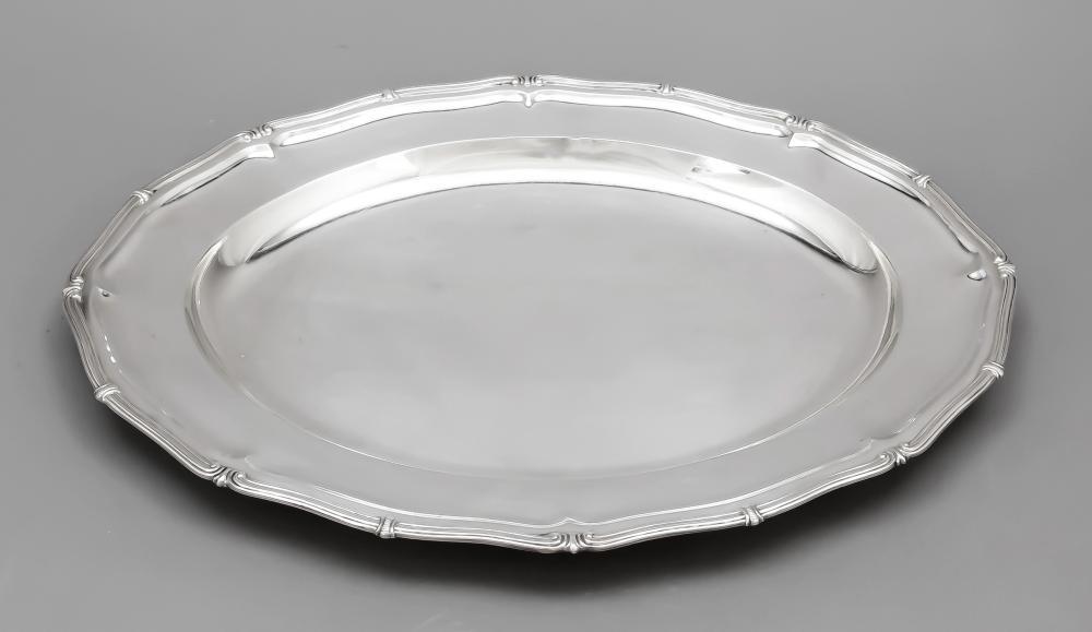 Oval tray, 20th century, silv