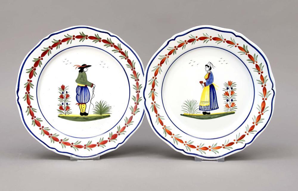 Pair of plates, Quimper, Franc