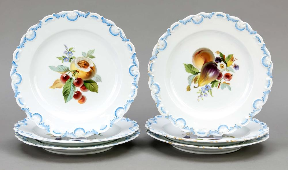 Six fruit plates, Meissen, Kna