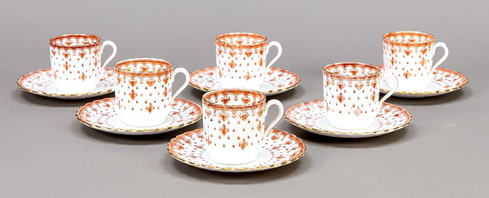 Six mocha cups with saucers, S