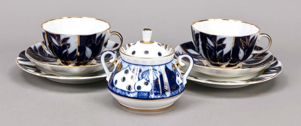 Two tea sets and sugar bowl, 7