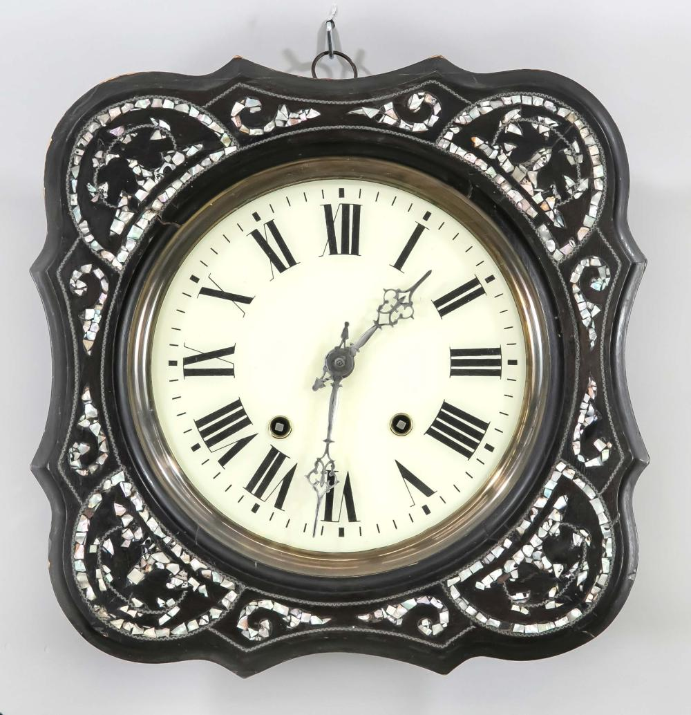 Wooden wall clock with mother-