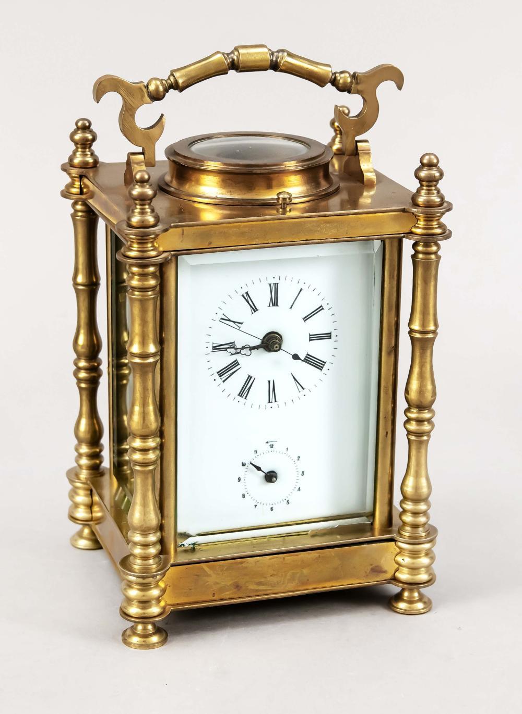 Travelling alarm clock, brass,