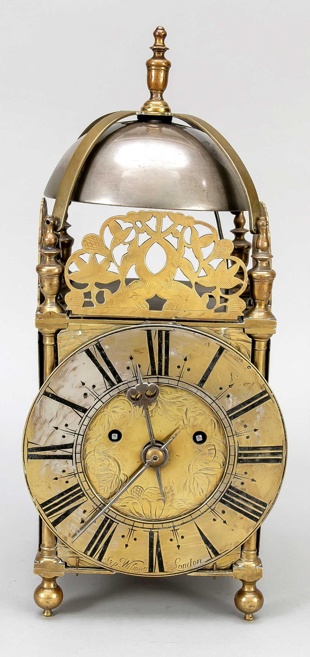Brass skeleton console clock,