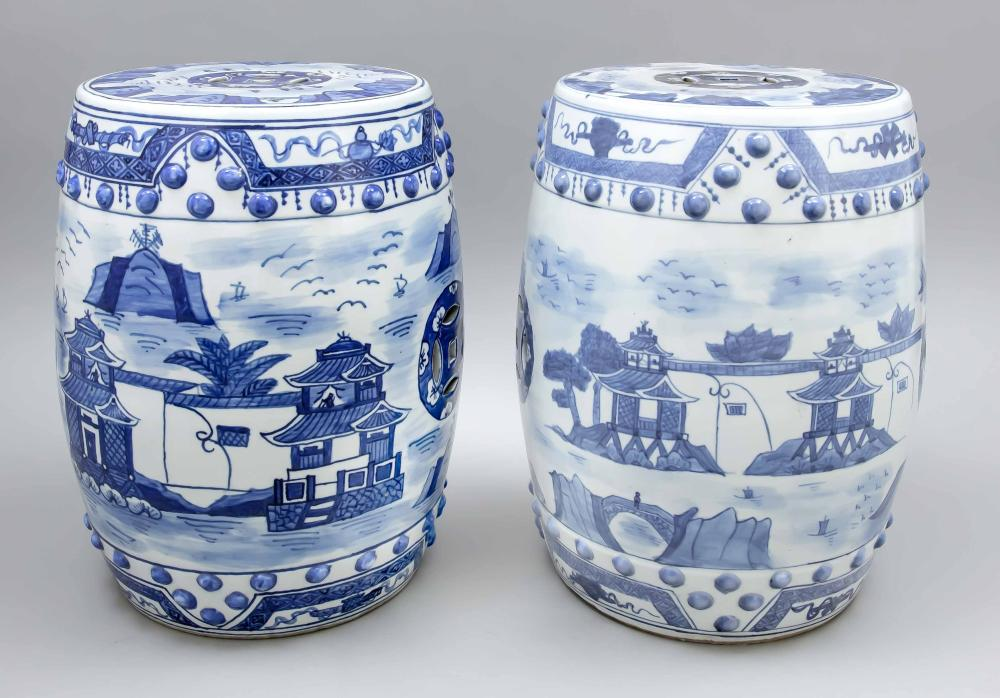 Pair of garden stools, China,