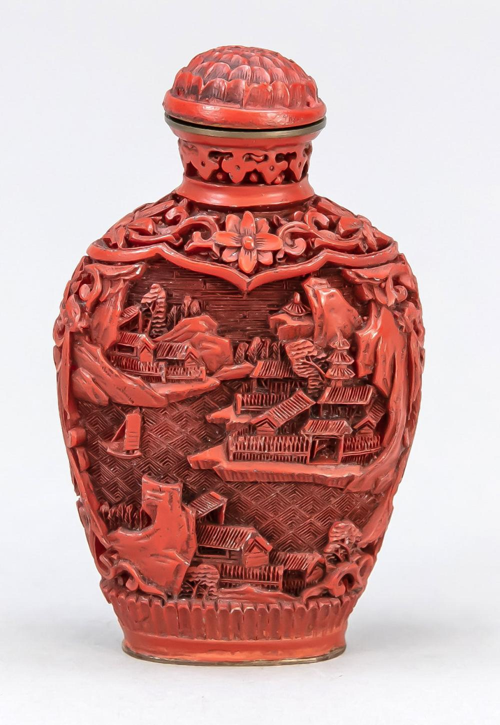 Cinnabar carved lacquer snuffb
