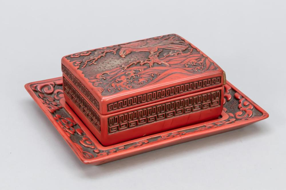 Pseudo carved lacquer box, Jap