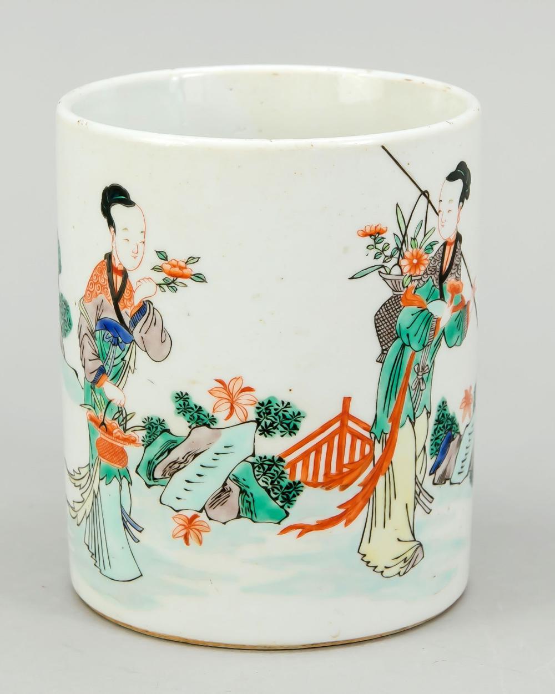 Famille verte brush cup in Kan