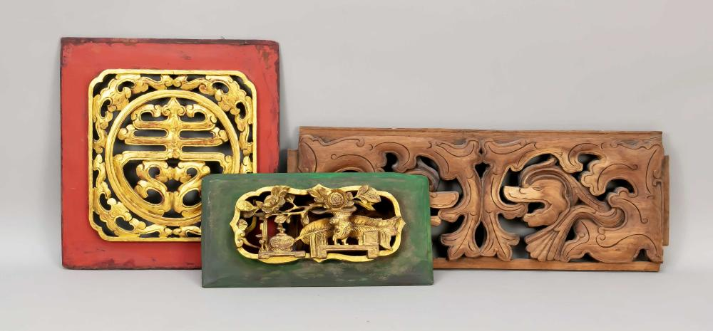 3 carved panels, China, 19th c