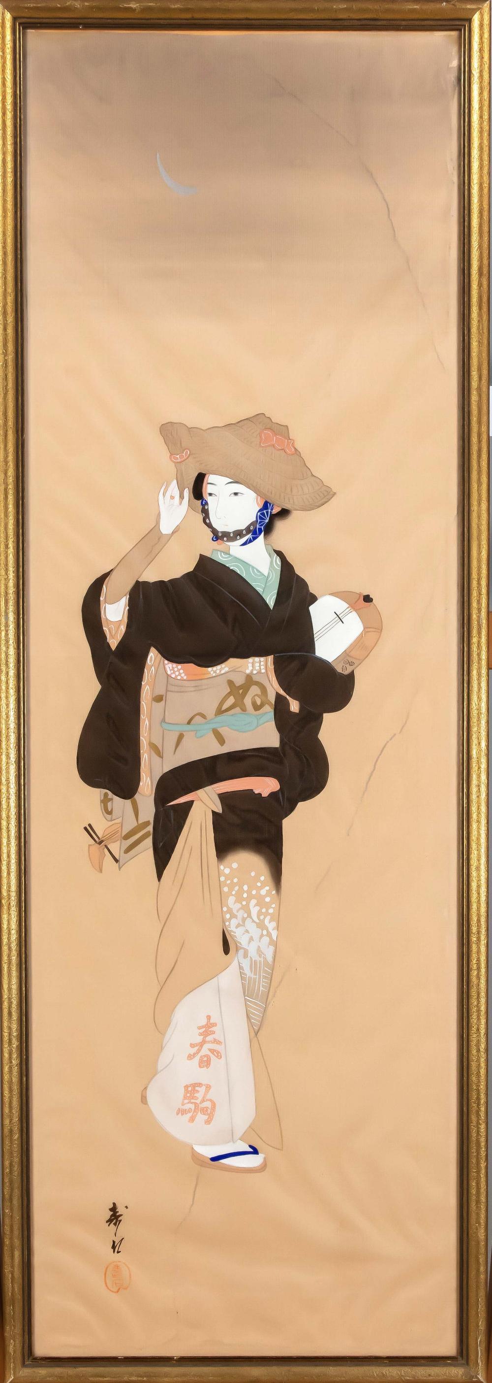 Silk painting, Japan, 20th cen