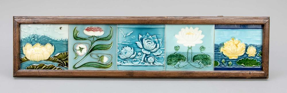 5 Art Nouveau tiles in wooden fra