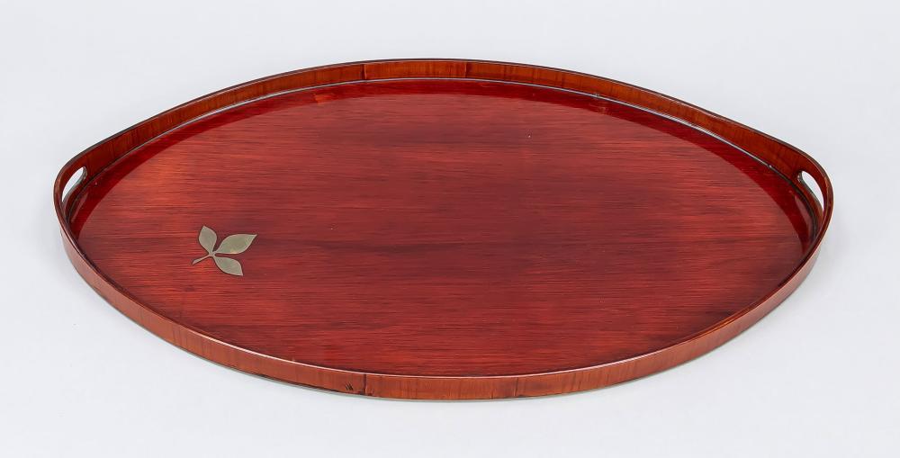 Oval tray, 20th century, mahogany