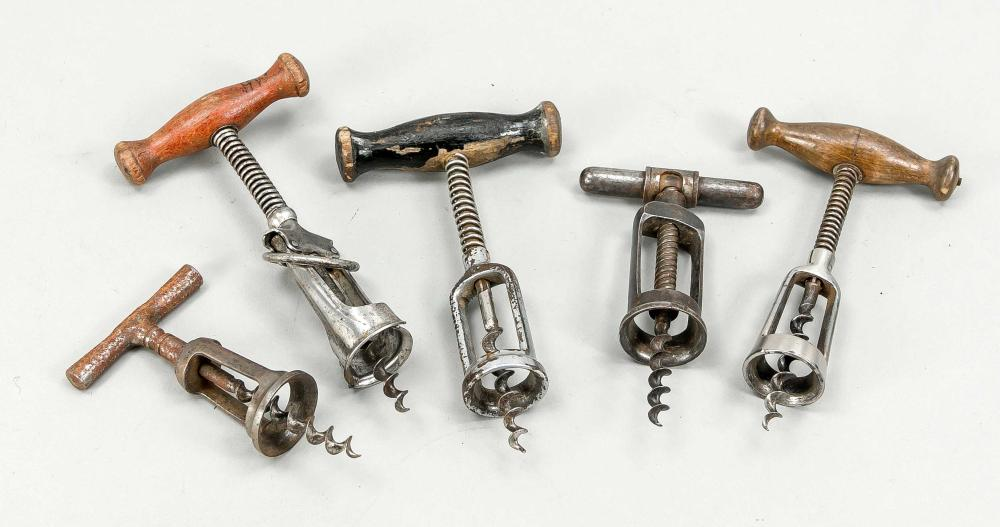 5 old corkscrews, early 20th c.,