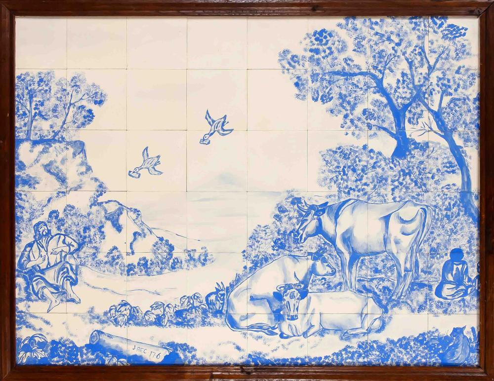 Large tile painting, 20th century