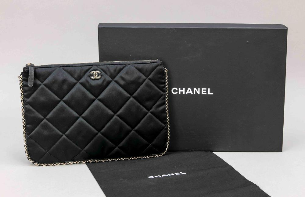 Chanel, Black Quilted Satin Ch