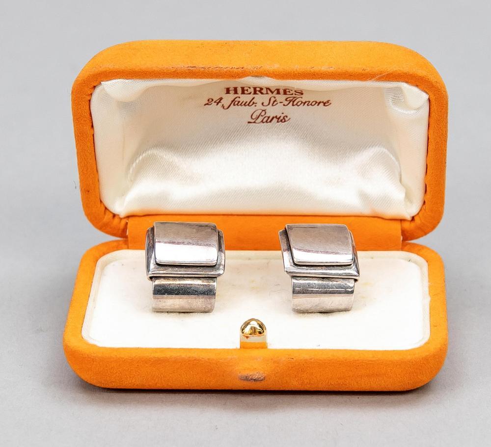 Hermes, pair of silver earclip