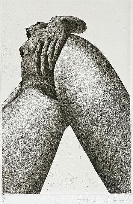 Hartmut Lincke (1942), etching, female nude from