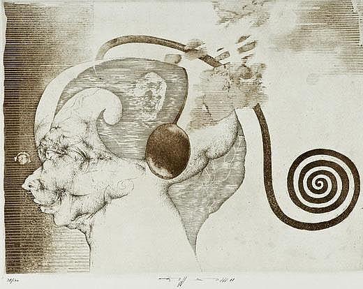 Eberhard Eggers (1939-2004), two etchings, surreal
