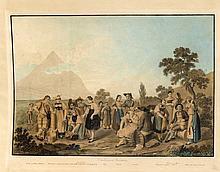 Konvolut von vier schweizer Ansichten d. 19. Jh., 'Vue Dessinée a Mouri de Berne', Kupferstich von Lorieux nach Johann Ludwig Aberli (1723-1786), aquarellierte Radierung mit einer Ansicht der Bergfeste Weideneck von Johann Ziegler (1749-1812) nach