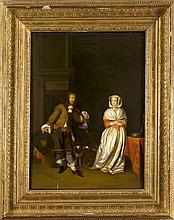 Gerard ter Borch (1617-1681), Kopie nach, 'Der galante Jäger', altemeisterliches Genrebild des 17. Jh. als Kopie oder aus dem Umfeld ter Borchs, Öl/Holz, 58 x 44 cm, ger. 78 x 63 cm