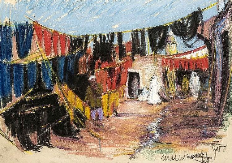 Karl Sally Bauer-Oltsch (*1920), geb. in Selb, 'Marakesch', Pastellzeichnung auf Papier, u. re. bez., handsign. u. dat. 1961, 48 x 68 cm, hinter Glas u. Pp. ger. 64 x 84 cm