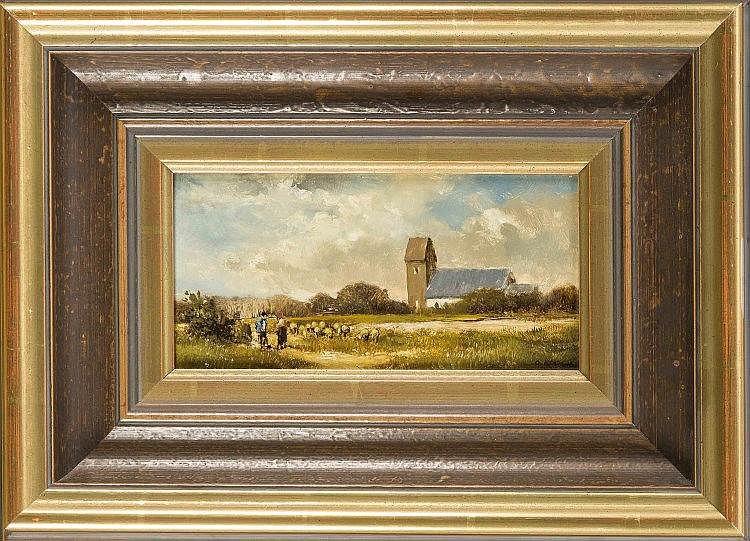 Otto Kock (1921-1999), Herbstlandschaft mit Schafherde und einer Bäuerin im Gespräch mit dem Hirten vor dem Hintergrund einer Dorfkirche, Öl/Holz, u. re. sign., 10 x 20 cm, ger.26 x 36 cm