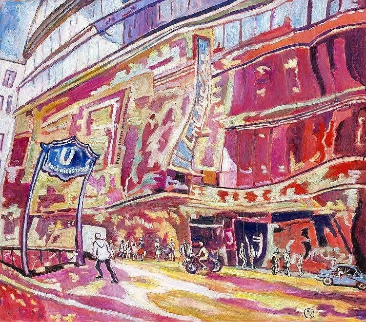 Youri Frantsousov (*1946), russ. Maler, in Berlin tätig, Galeries Lafayette in der Friedrichsstrasse, Öl/Lwd., u. re. monogr., 70 x 80 cm, in Atelierleiste 76 x 85 cm