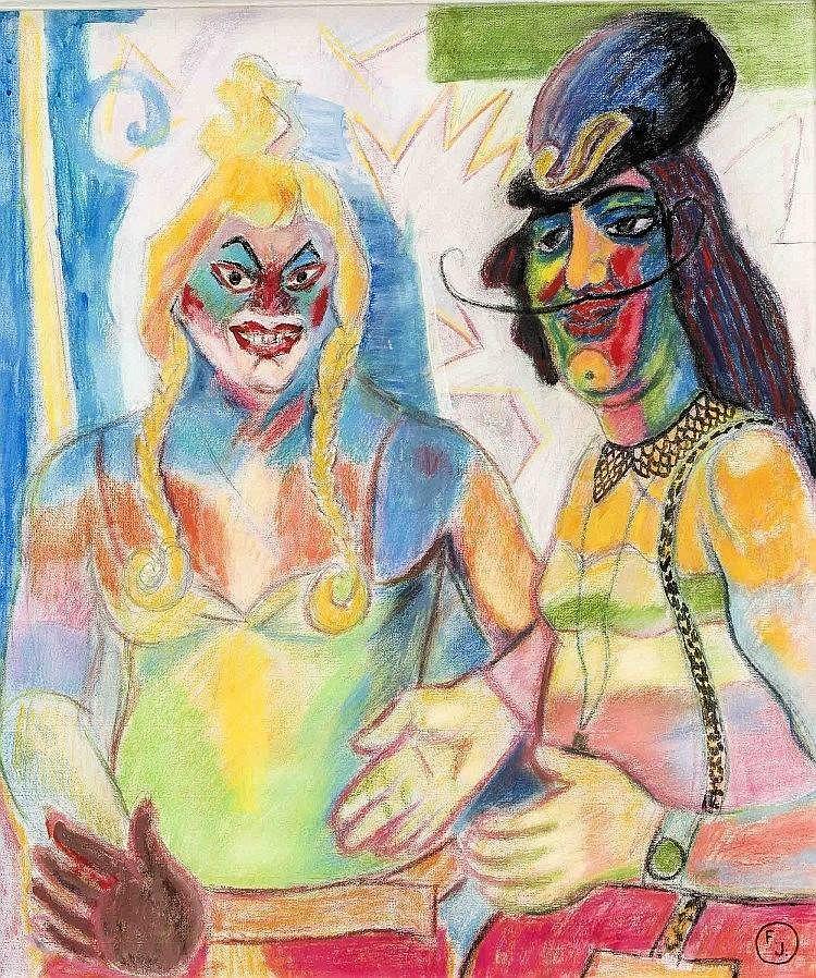 Youri Frantsousov (*1946), russ. Maler, in Berlin tätig, 'Karneval', Mischtechnik auf Leinwand, u. re. monogr., 80 x 70 cm, ger. 89 x 79 cm
