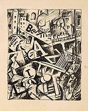 Otto Möller (1883-1964), bedeutender, dt. Expressionist u. Mitglied der Novembergruppe, kubofutoristische Lithografie 'Berliner Jazz', um 1920, u. re. im Stein sign., im Rand leichte Erhaltungsmängel, Blattmaße 38 x 28 cm