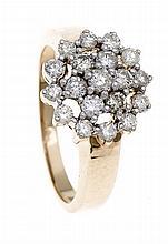 Brillant-Ring GG/WG 585/000 mit Brillanten, zus. 1,00 ct l.get.Weiß/SI, RG