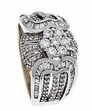 Brillant-Ring WG 585/000 ungest., gepr., mit Brillanten und Diamant-Baguett